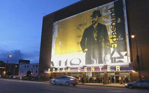 Kodak Center Marquee at dusk