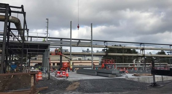 1-13-17 B-371 I beams starting to go up for Gas Conversion Project at Eastman Business Park