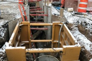 RED-Rochester Gas Conversion Project at Eastman Business Park - 1-31-17 Trench from existing industrial sewer manhole to new manhole