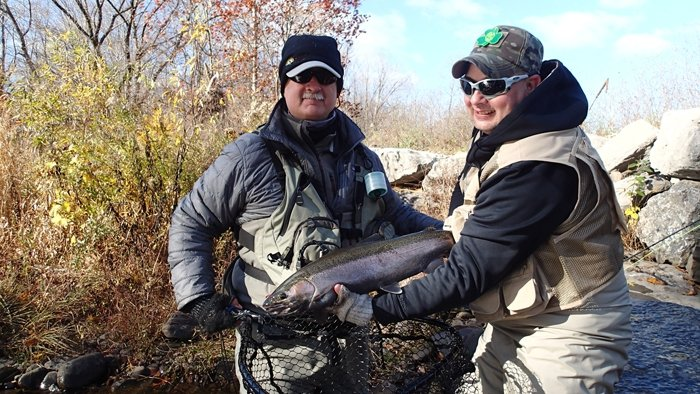 Vet Dan Young with a Steelhead & guide Dave Agness